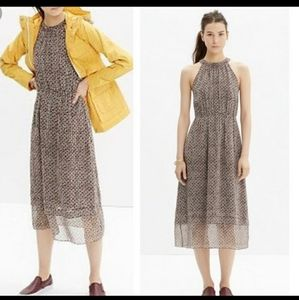 Madewell Silk Midi Dress In Diamond Tile